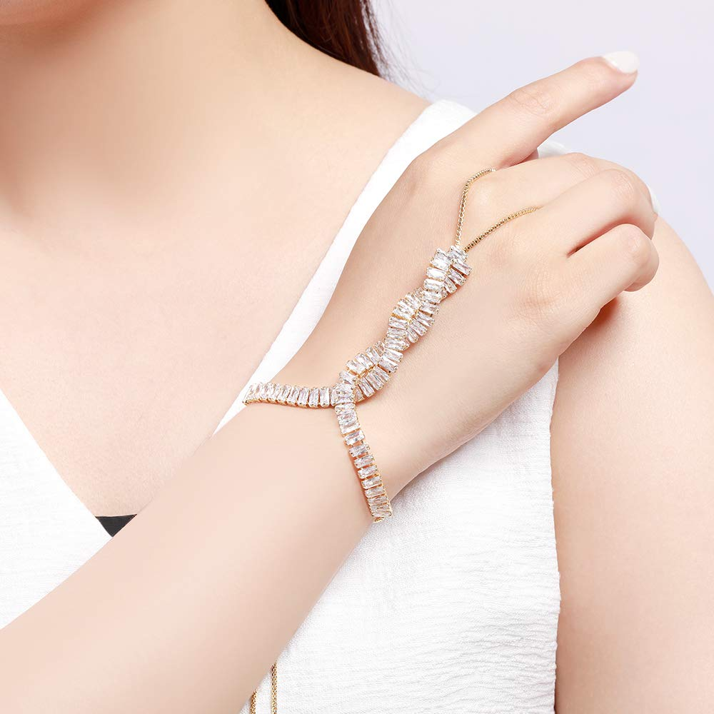 Gold Tone Cubic Zirconia Crossover Slave Chain Bracelets Adjustable Hand Chain with Ring