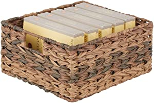mDesign Woven Ombre Farmhouse Kitchen Pantry Food Storage Organizer Basket Bin - for Cabinets, Cupboards, Shelves, Countertops - Holds Potatoes, Onions, Fruit - Brown Ombre