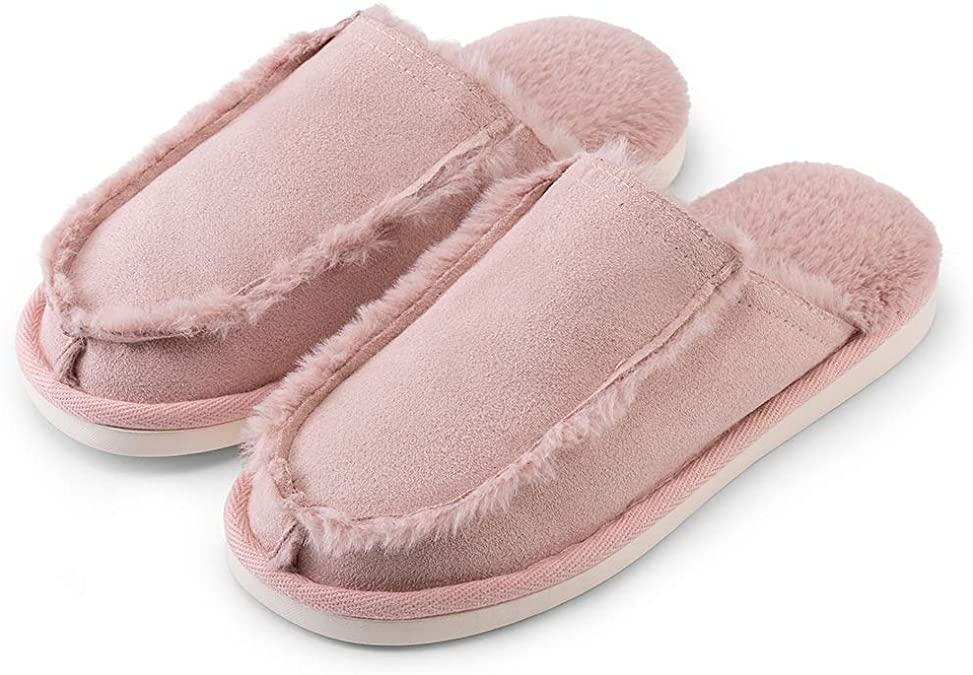 posee Nuage Cozy & Comfy House Slippers, Non-Slip Suede Mule Slide with Faux Fur Linings and Insole, Warm Indoor Shoe, Fashionable Winter House Shoe for Women and Menn-Light Pink