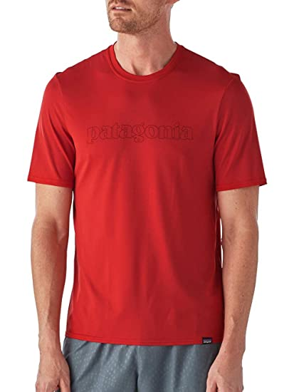 205b6681771b Patagonia Men's Capilene Daily Graphic T-Shirt - Outline Logo: Fire - Small