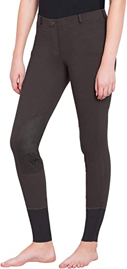 TuffRider Women Starter Lowrise Pull On Breeches with Free Assorted Striped Socks Knee Patch Equestrian Apparel Horse Riding Pants