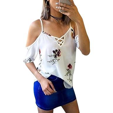 9b0d3be5236d Tee Shirt Imprimé Floral Manche Courte Col V Femme T Shirt Epaule Dénudée Manches  Courtes Ample