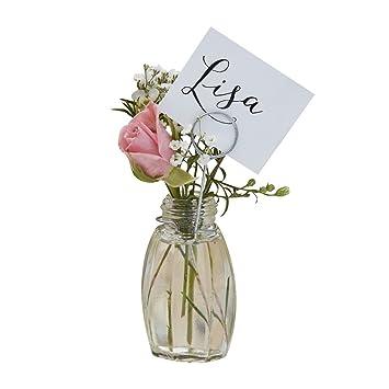 Amazon De Platz Karten Tich Karten Mit Mini Blumen Vasen Aus Glas