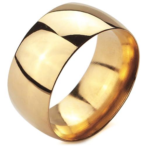 MunkiMix Ancho 10mm Acero Inoxidable Anillo Ring Banda Venda Oro Dorado Tono Alianzas Boda Talla Tamaño