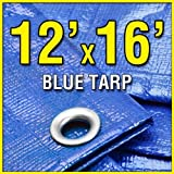 Grizzly Tarps GTRP1216 12-Feet X 16-Feet Blue Multi-Purpose 6ml Waterproof Poly Tarp Cover with Tent Shelter Camping Tarpaulin by Grizzly Tarps by Grizzly Tarps