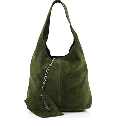 316e6d6f9213 Amazon.com  Ladies Women Real Suede Leather Hobo Shoulder Handbag (Army  Green)  Shoes