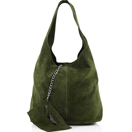 5c48a9f79a Ladies Women Real Suede Leather Hobo Shoulder Handbag (Army Green ...
