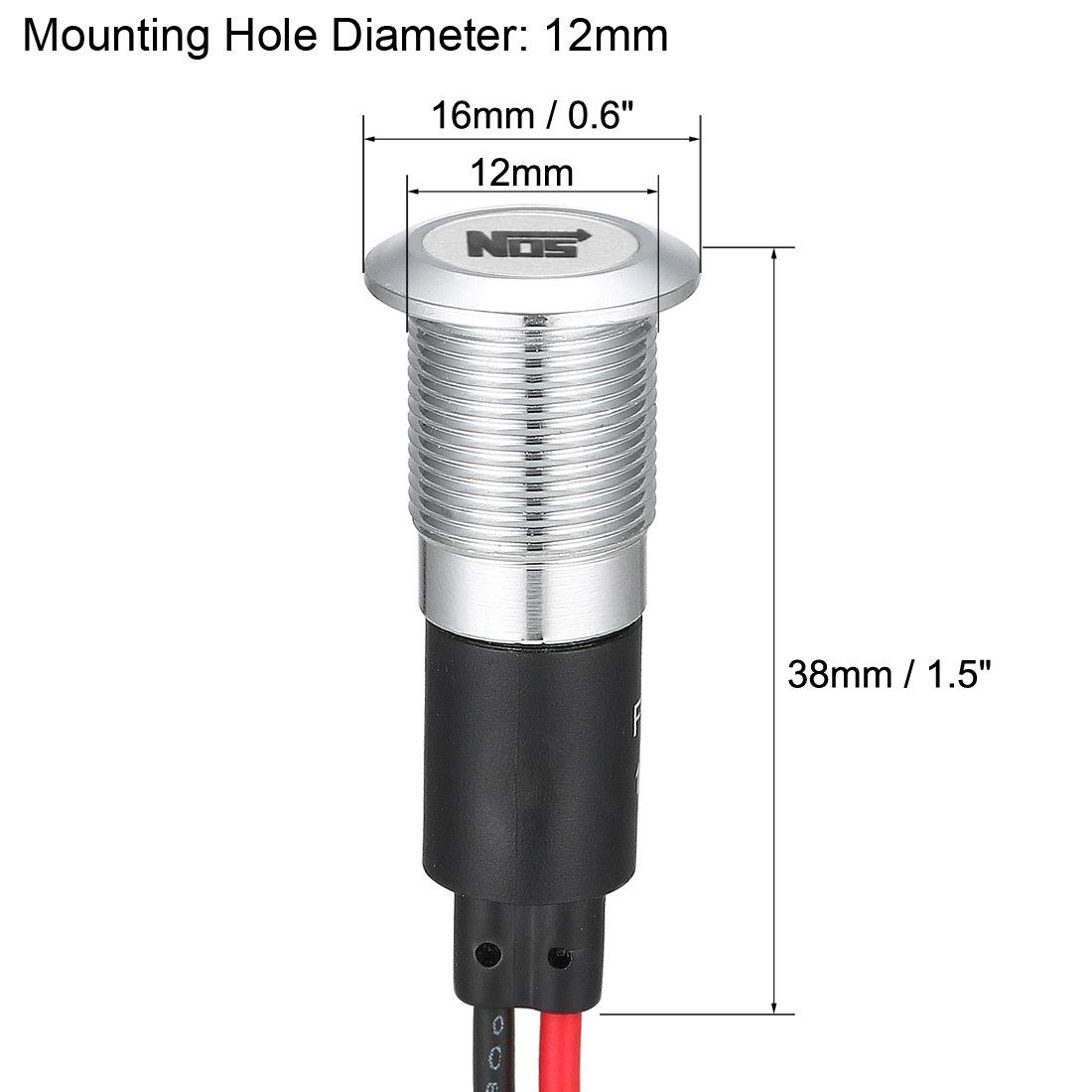 uxcell Signal Indicator Light DC 12V 12mm Red LED Metal Shell with Symbol NOS