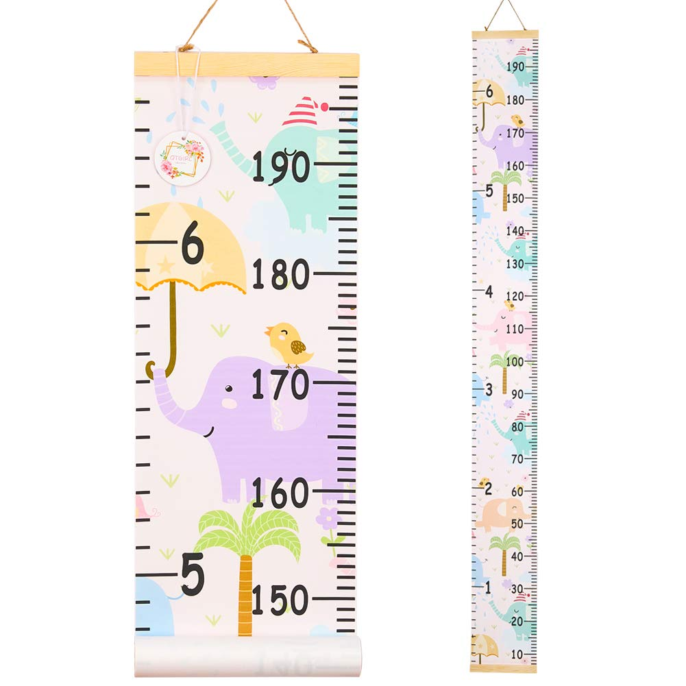 QtGirl Kids Growth Chart, Height Chart for Child Height Measurement Wall Hanging Rulers Room Decoration for Girls, Boys, Toddlers(Elephant)