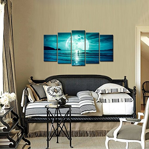 Kreative Arts – Large 5 Piece Full Moon Hanging On The Dark Blue Sky Canvas Prints Seascape Pictures Ocean Wall Art Framed for Living Room Bedroom Office Home Decoration Large Size 60x32inch