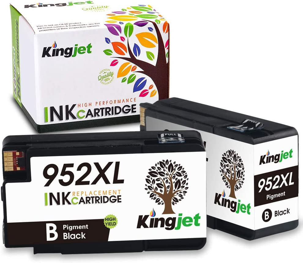 Kingjet Compatible Replacements for 952, 952XL Ink Cartridge Work with Officejet Pro 7720 7740 8210 8216 8702 8710 8715 8720 8725 8730 8740 Printers, 2 Black with Newest Updated Chips in April, 2020