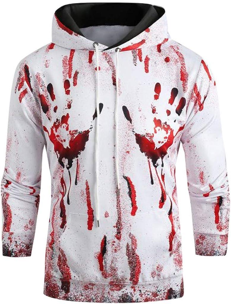 GNYD Pullover in Felpa con Cappuccio A Manica Lunga con Stampa A Sangue di Halloween da Donna Uomo Elegante di Natale Halloween Vestiti per Festivi