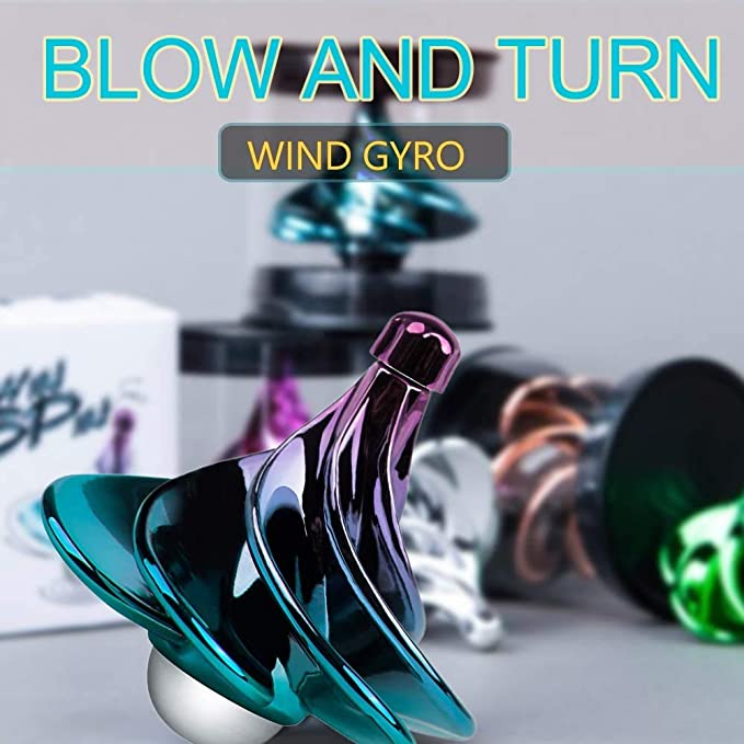 N\A Firefly-Web 2 Pack Airflow Spinning Tops Portable Wind Gyro Wind Blow Turn Gyros Desktop Decompression Toy Xmas Gift for Kids Adults Increases Lung Capacity Great Party Favors or Office D/écor