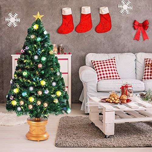 Safeplus Artificial Christmas Tree with Fiber Optic Filaments, Colorful Balls and Golden Star (4ft) by Safeplus (Image #4)