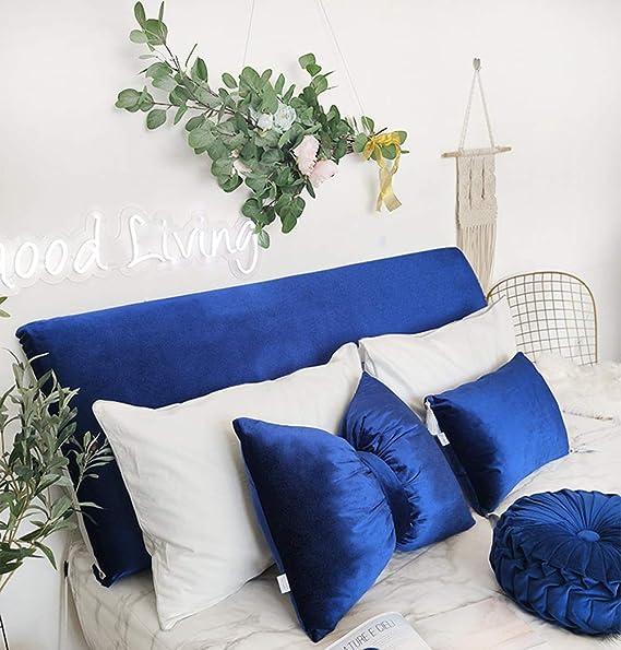 43-47 Hanming Luxurious Aquamarine Bed Headboard Slipcover Protector Stretch Velvet Solid Color Dustproof Decor Slip Cover Anti-Wrinkle Headboards Length