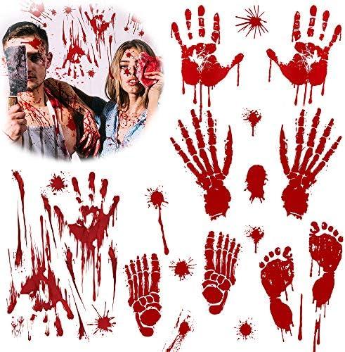 PVC Decalcomanie Impronta Orrore WELLXUNK Halloween Adesivi per Impronte Adesivo Sanguinante per Decorazioni di Halloween 8 Pezzi Adesivi Impronta Sanguinante