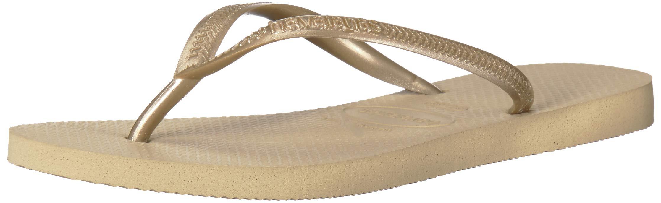 Havaianas Women's Slim Sandal,Sand Grey/ Light Gold,37/38 BR (7-8 M US)