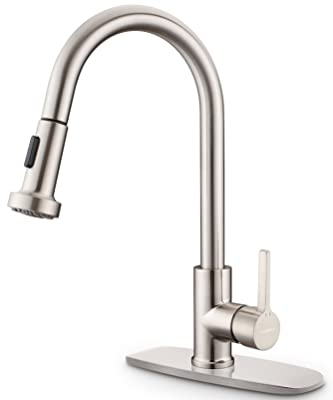 Kitchen Sink Faucet, Sarissa Brushed Nickel Single Handle Pull Down Sprayer Kitchen Faucet