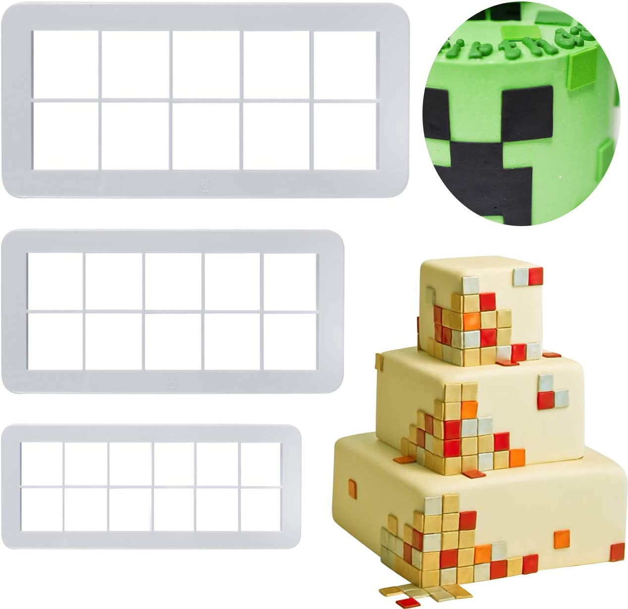Mity Rain Square Cookie Cutter - Geometric Multicutter-Square Cake Fondant Cutter - 3 Size,Square Biscuit Cutters,Novel Creative Cake Decorating