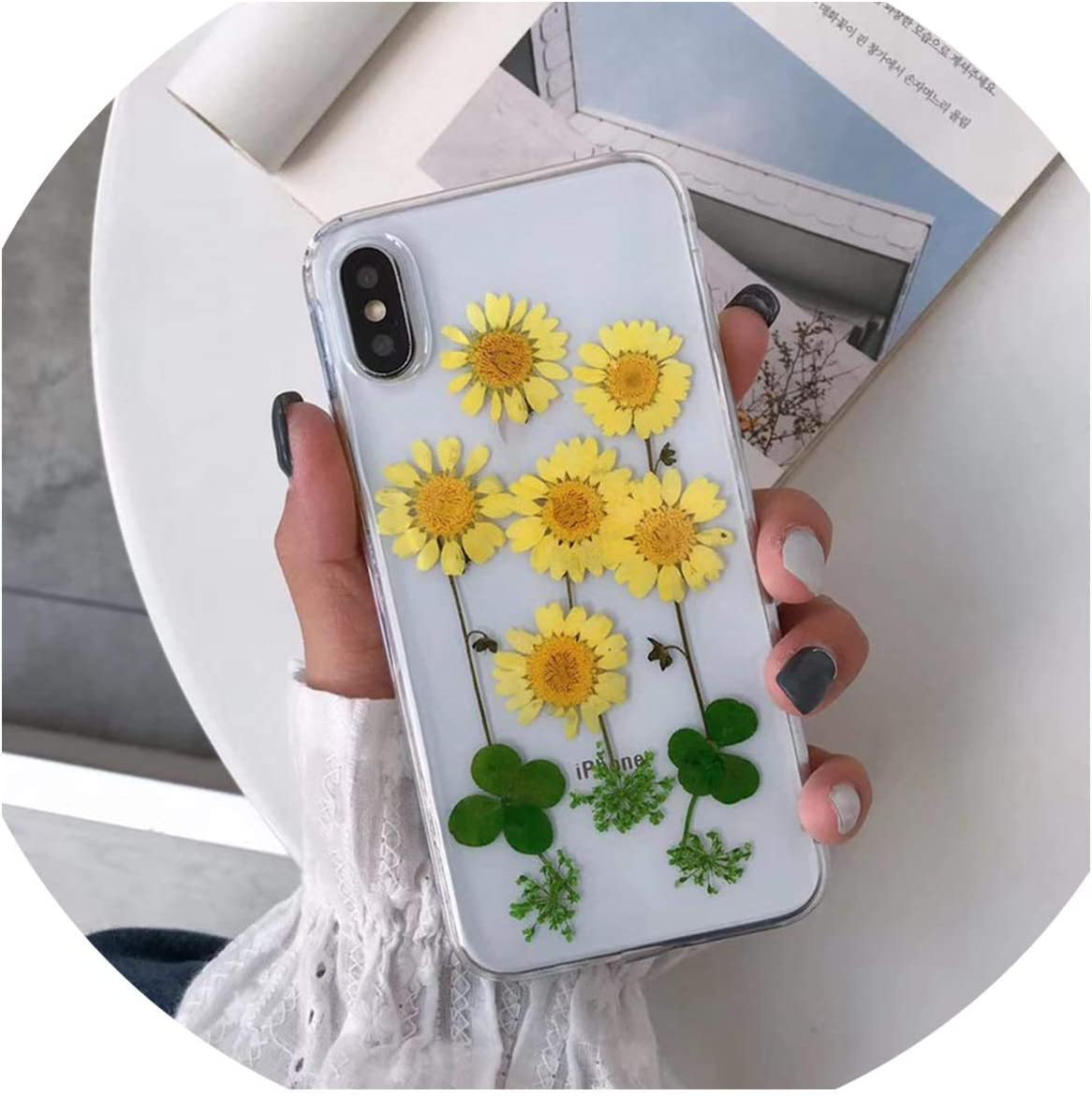 Real Pressed Dried Flowers Phone Case for iPhone Xs Max XR 6 6s 7 8 Plus X Silicon TPU Clear Floral Cover Cases,3,for iPhone 7 8