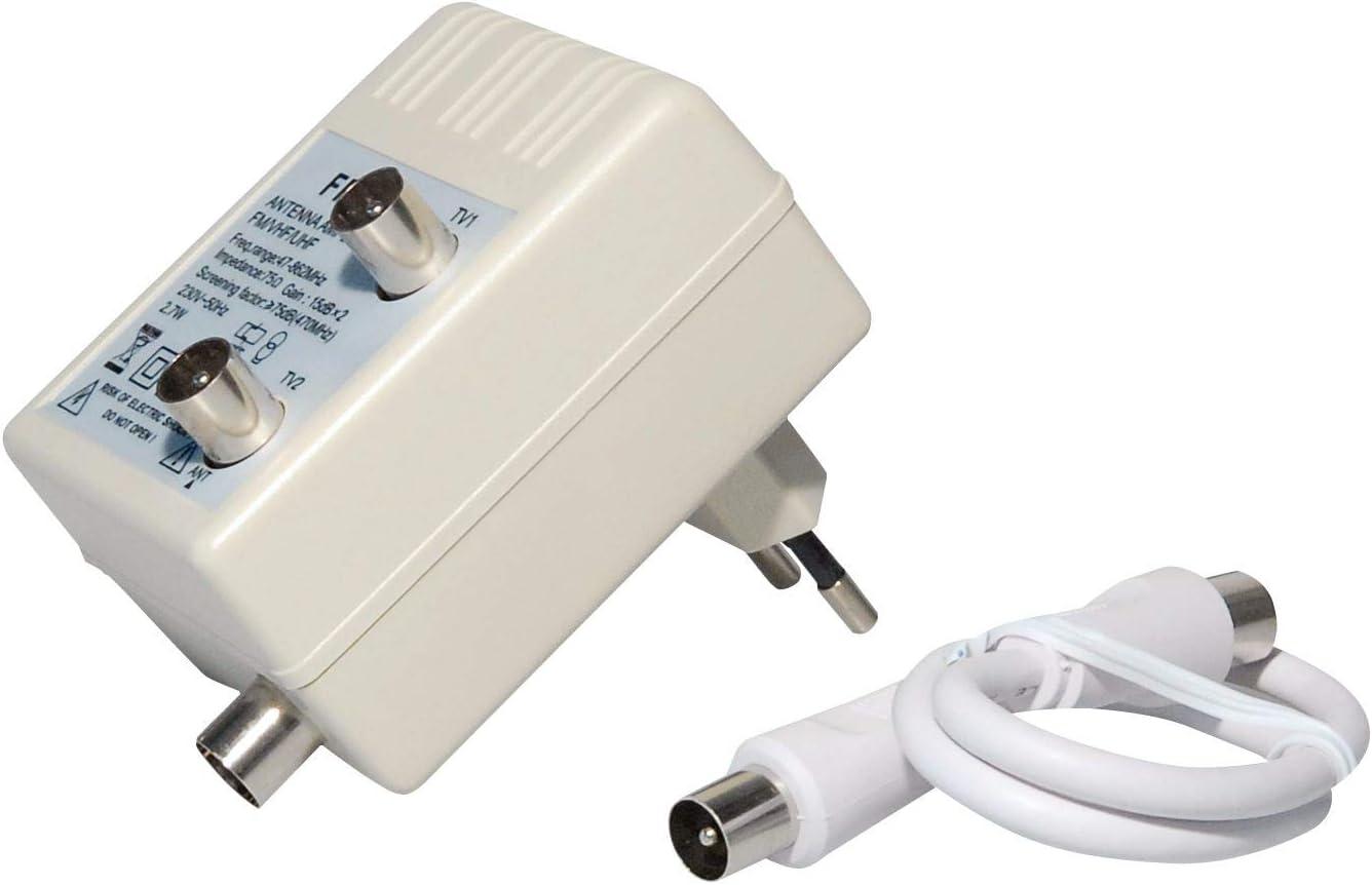Amplificador de antena 75 ohmios, 2 conectores coaxiales macho a 1 conector coaxial hembra hembra con 0,3 metros de cable de antena, adecuado para 3D, ...