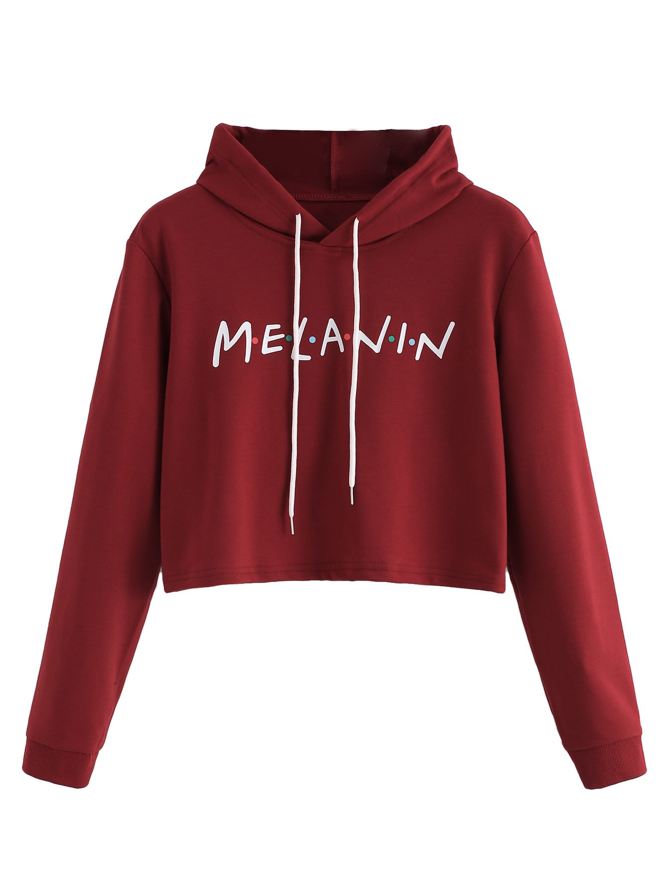 MakeMeChic Women's Letter Print Crop Top Sweatshirt Pullover Hoodie Red S