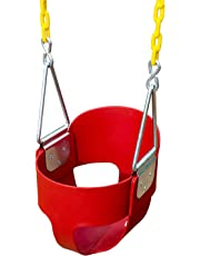 Techcell Toddler Swing - High Back Full Bucket Heavy Duty Swing Seat with Coated Chains & Locking Snap Hooks Full Assembled - Swing Set Accessories (Red)