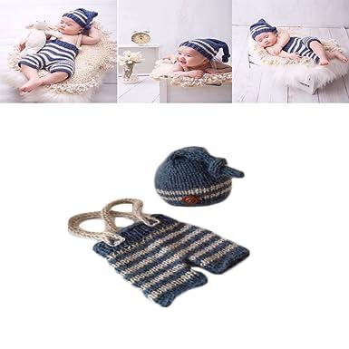 232c83bbb4c1 Amazon.com  Coberllus Newborn Baby Photo Shoot Props Girl Boy Crochet Knit  Hat Costume Stripe Hat Pants Overalls Photography Props  Clothing
