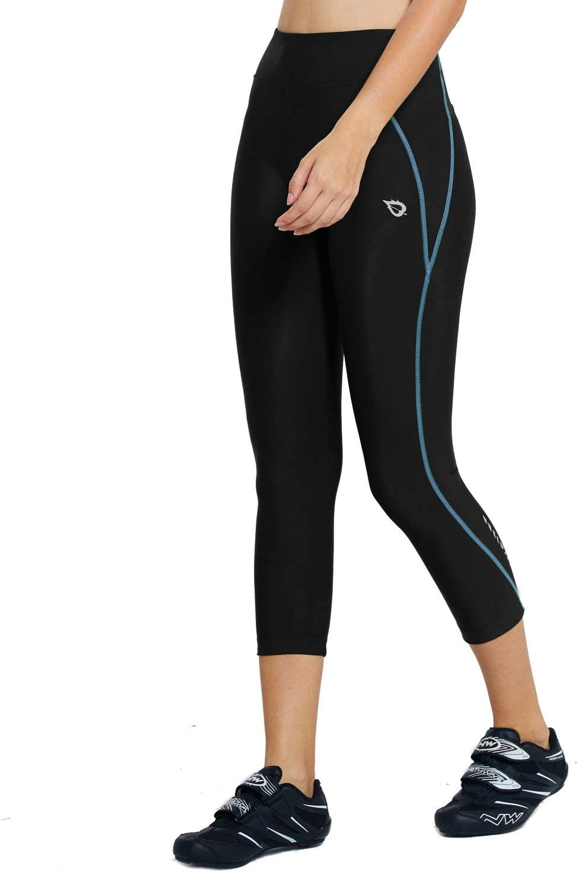 BALEAF Womens Padded Cycling Tights 3//4 Compression Capris Anti-Slip Bicyle Leggings Pockets