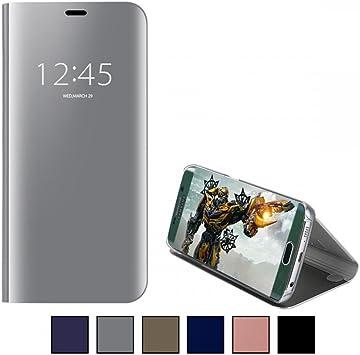 COOVY® Funda para Samsung Galaxy S6 Edge SM-G925F SM-G925 Aspecto metálico, armazón, Lujosa, Ventana de Espejo Transparente, visión Clara, Soporte | Color Lata: Amazon.es: Electrónica