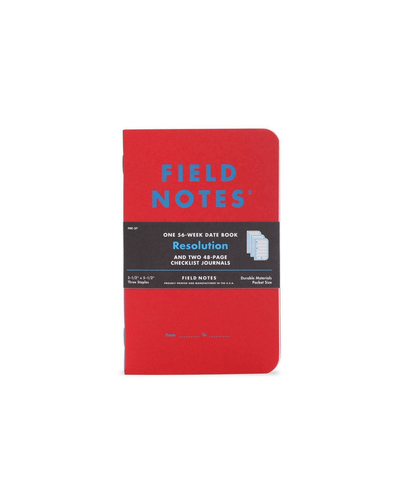 Field Notes Resolution Special Edition Memo Books, 2 Checklist Journals and 1 56-Week Date Book, (3-1/2'' × 5-1/2'') Winter 2017