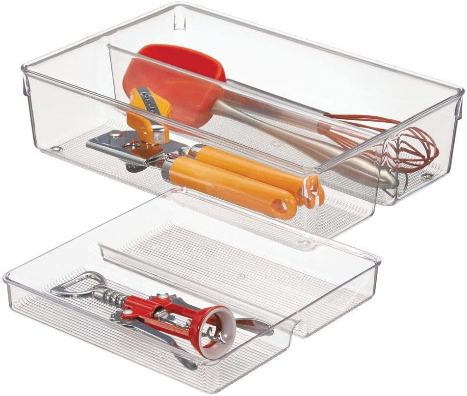 mDesign 2-Piece Kitchen Drawer Organiser for Kitchen Utensils and Tools - Cutlery Tray and Kitchen Utensil Holder - 2 Sliding Trays with 2 Compartments Each - Clear