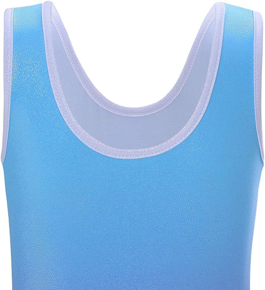 Leotards for Girls Kids Gymnastics Gradient Sparkle Diamond Dance Costumes Blue Pink