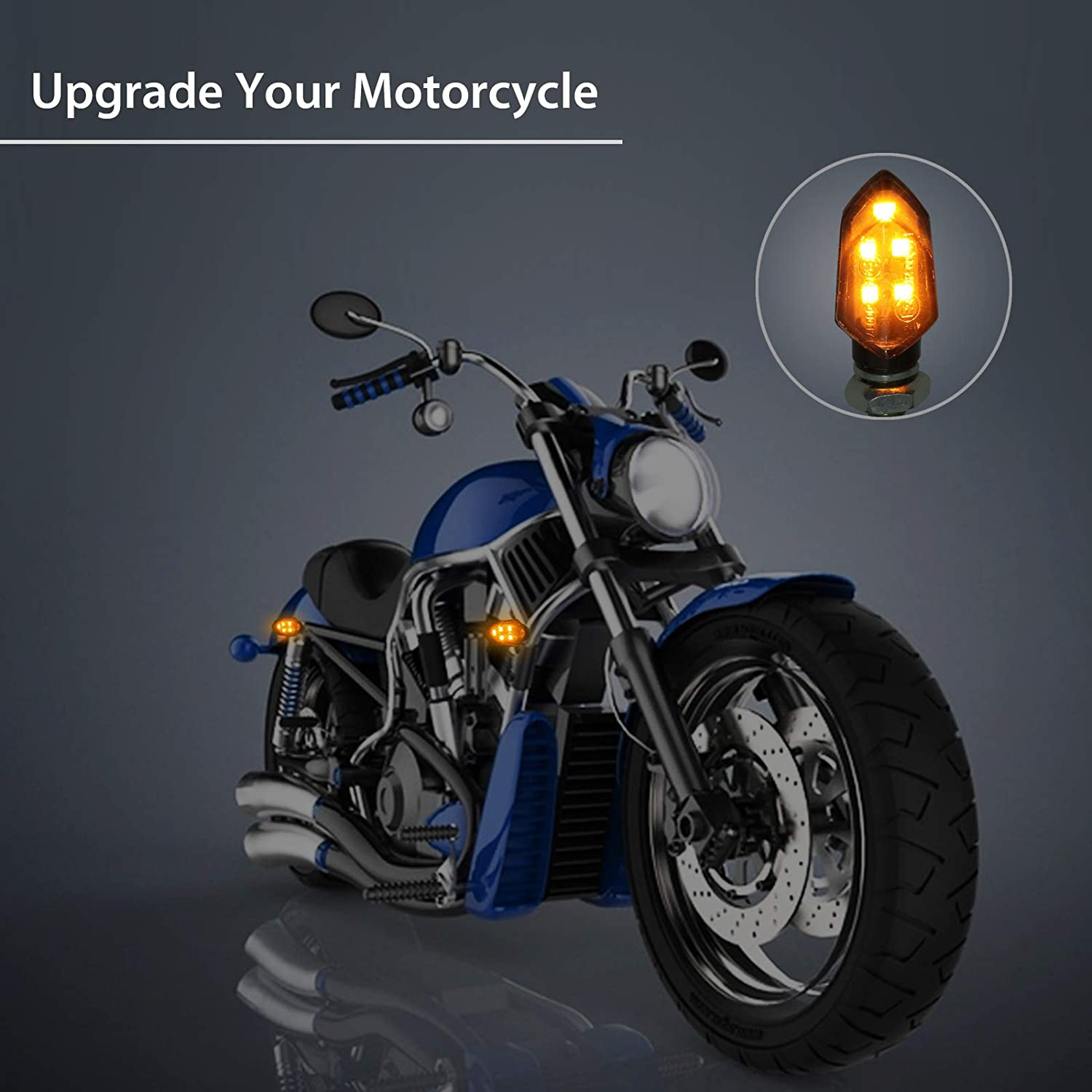 Justech New Design 4pcs Micro Led Turn Signal Lights Motorbike Indicator Universal Waterproof 3528 Lamp Beads Indicator For Motorcycle Motorbike Harley Kawasaki Yamaha Off Road 5559073798