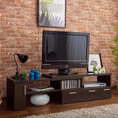 おしゃれな北欧テイストの伸縮テレビ台 幅109~198cm ダークブラウン B01MYPXFUG ダークブラウン ダークブラウン