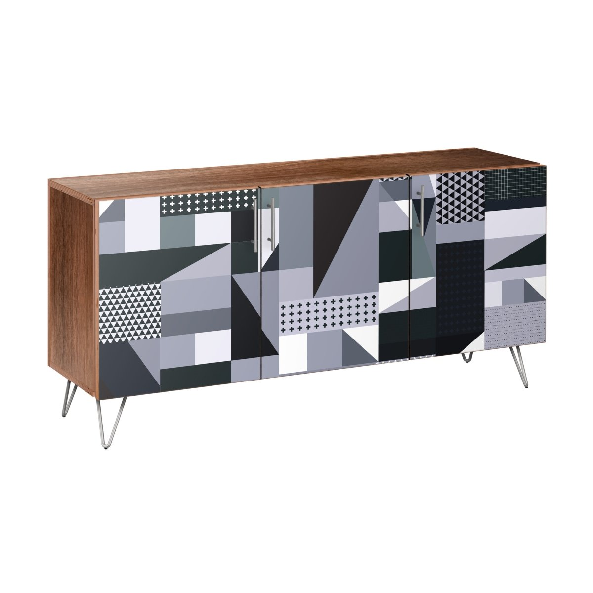 NyeKoncept 13006385 Grayscale Patchwork Hairpin Sideboard44; Walnut & Chrome by NyeKoncept