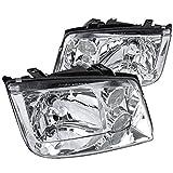 jetta mk4 headlight assembly - Spec-D Tuning LH-JET99-RS Fit VW Jetta MK4 Euro Crystal Chrome Clear Headlights w/Fog Lamps