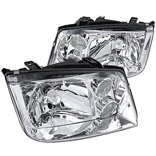 Spec-D Tuning LH-JET99-RS Fit VW Jetta MK4 Euro Crystal Chrome Clear Headlights w/Fog Lamps