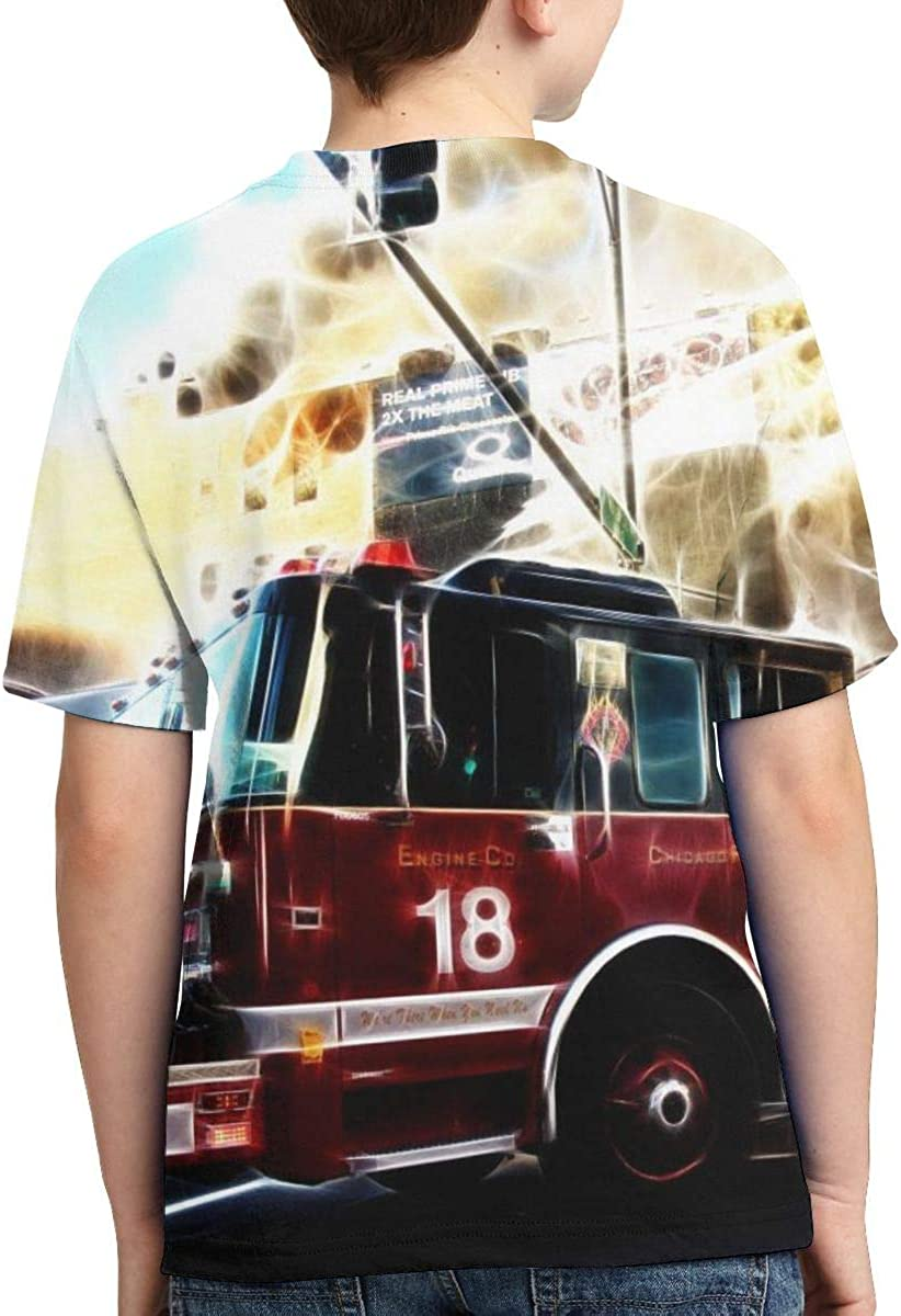 Summer Tops for Boys Youth T-Shirts Fire Truck Full Printed Short Sleeve Crew Neck Tees