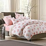 Brandream Floral Duvet Cover Set King Bedding Set 100% Soft Egyptian Cotton Pastoral Style, Blush Pink