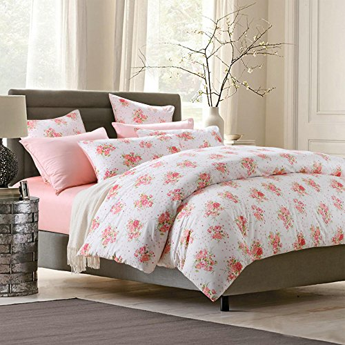 Brandream Pastoral Style Bedding Floral Printing Duvet Cover Set 3 Pieces Colorful Flowers Bed Quilt Cover Set,Full - Beds Colorful Flower