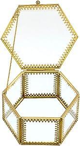 Hipiwe Hexagon Glass Jewelry Trinket Box - Ornate Jewelry Display Organizer Holder Ring Earring Chest Keepsake Box Case Preserved Flower Glass Decorative Box Home Decor Box (Medium)