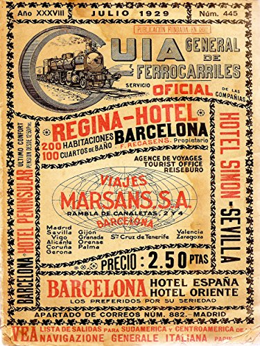 Travel Tourism Antique Spanish Rail Timetable Steam Engine Spain Poster Print (Rail Timetable Travel)