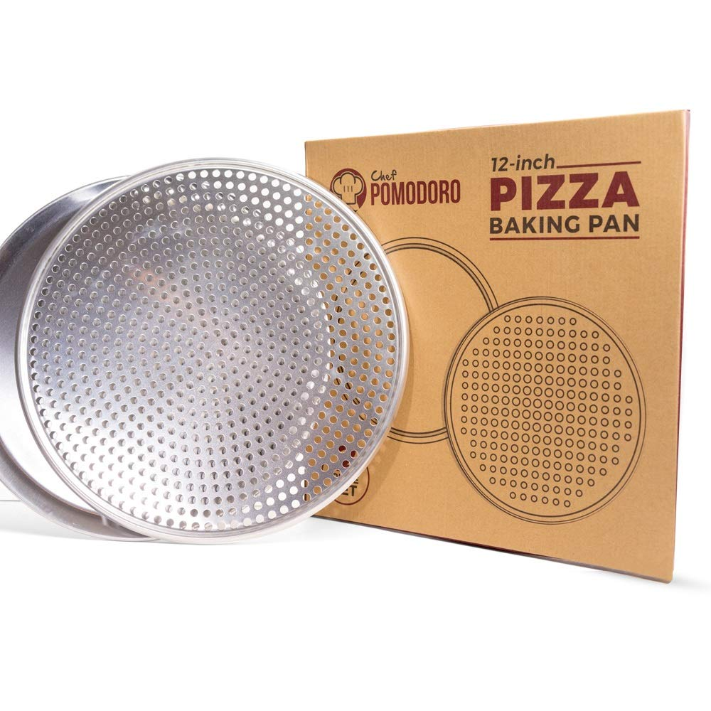 """Chef Pomodoro Pizza Pan Bundle: 12"""" Perforated and 12"""" Flat Nonstick Pizza Tray Bundle, 2-Piece Set, Bakeware"""