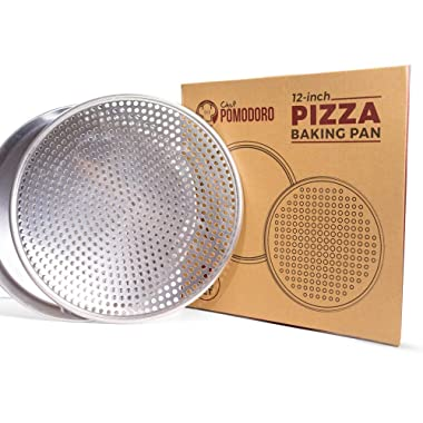 Pack of Two Bundle: 12  Perforated and 12  Flat Nonstick Pizza Pan Tray Bundle, 2-Piece Set, Bakeware