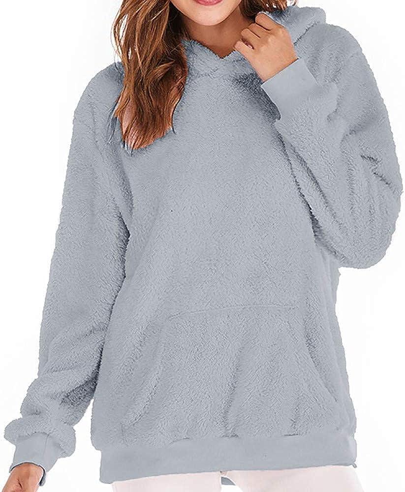 RedBrowm Women Hooded Sweatshirt Coat Warm Wool Zip Pockets Coat Cotton Outwear