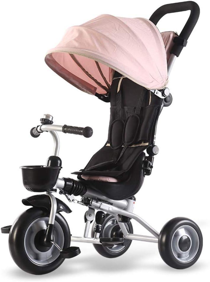 BGHKFF 4 En 1 Triciclo para Niños Cinturón De Seguridad De Tres Puntos Triciclo Bebé Plegable Amortiguador Freno De Rueda Trasera Triciclo para Niños con Capota Capacidad De Carga 40KG,Pink-OneSize
