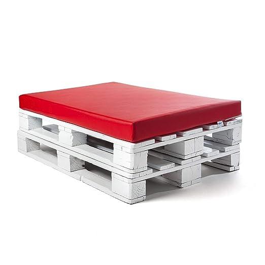 SUENOSZZZ-ESPECIALISTAS DEL DESCANSO Colchoneta para Sofas de Palet (1 x Unidad) Cojin Relleno con Espuma. Color Rojo | Cojines para Chill out, ...