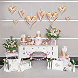 Famicitate 8pcs Heart-Shaped Hanging Decorations Three-Dimensional Heart-Shaped Paper Ornaments For Party Valentine's Day Wedding-pink+gold