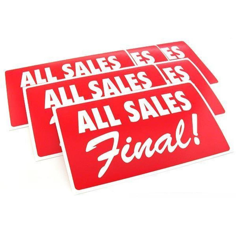 6 All Sales Final Display Sign Showcase Window Message
